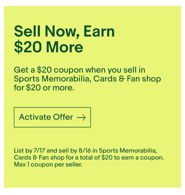 New Ebay Offer Sell 20 In Cards Get 20 Coupon Blowout Cards Forums