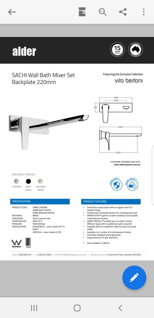 View: Wall spout/filler with freestanding bath?