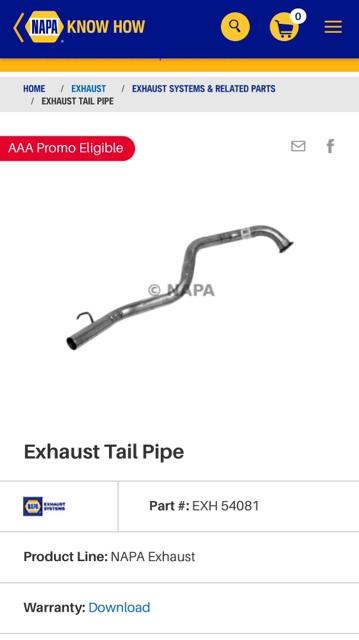 Walker 54081 Tail Pipe