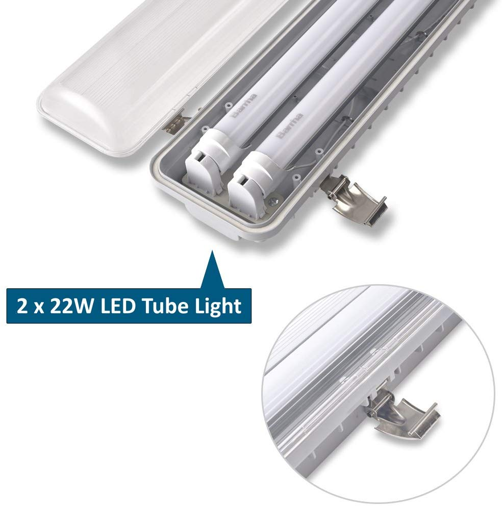 44W LED Vaportight Fixture: 1 2 Driver in Waterproof Fixture 22W 50k LED Tubes /& 4/'