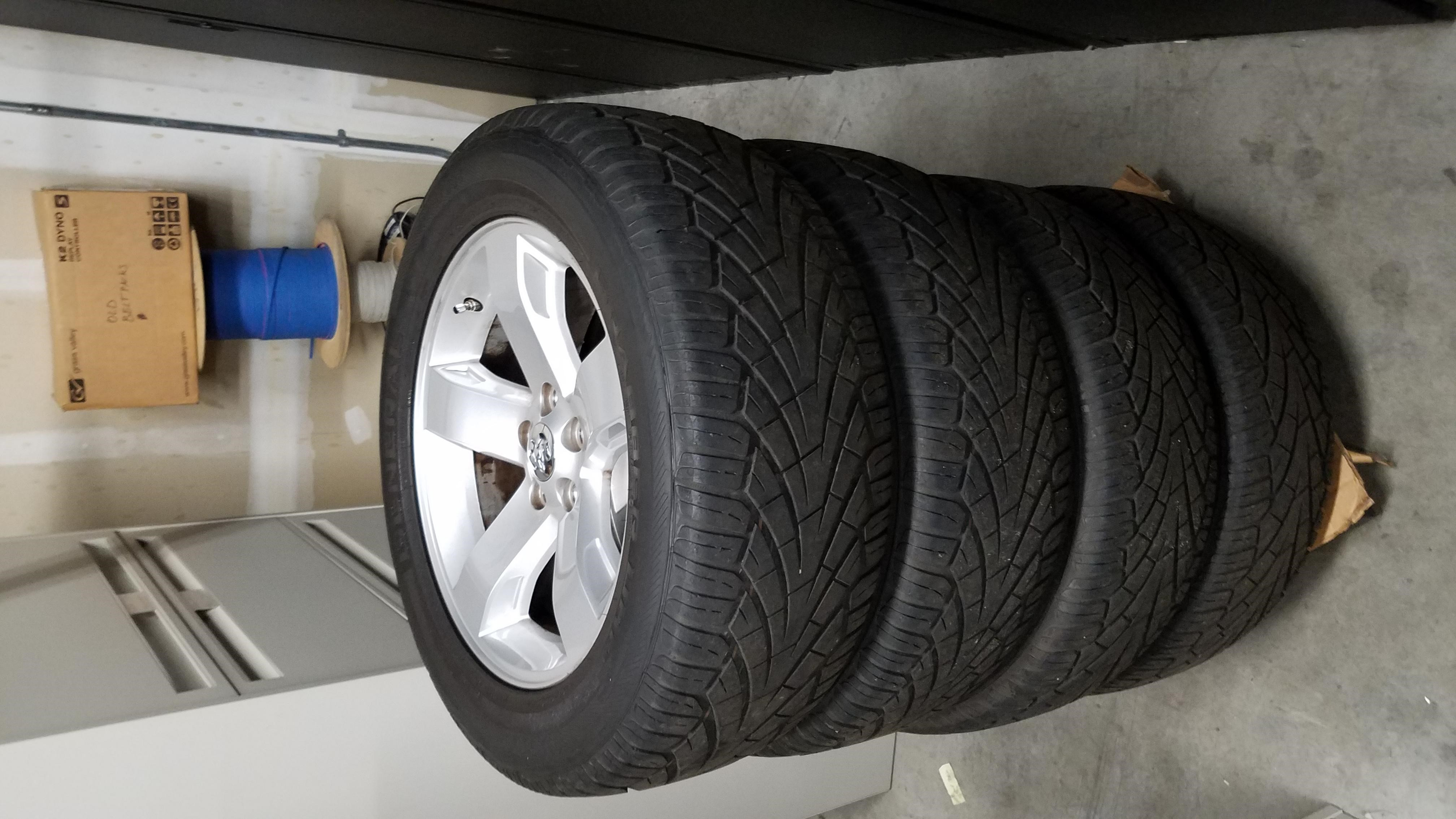 "Set of 2008 18"" Challenger wheels with General UHP tires and TPMS sensors FOR SALE"