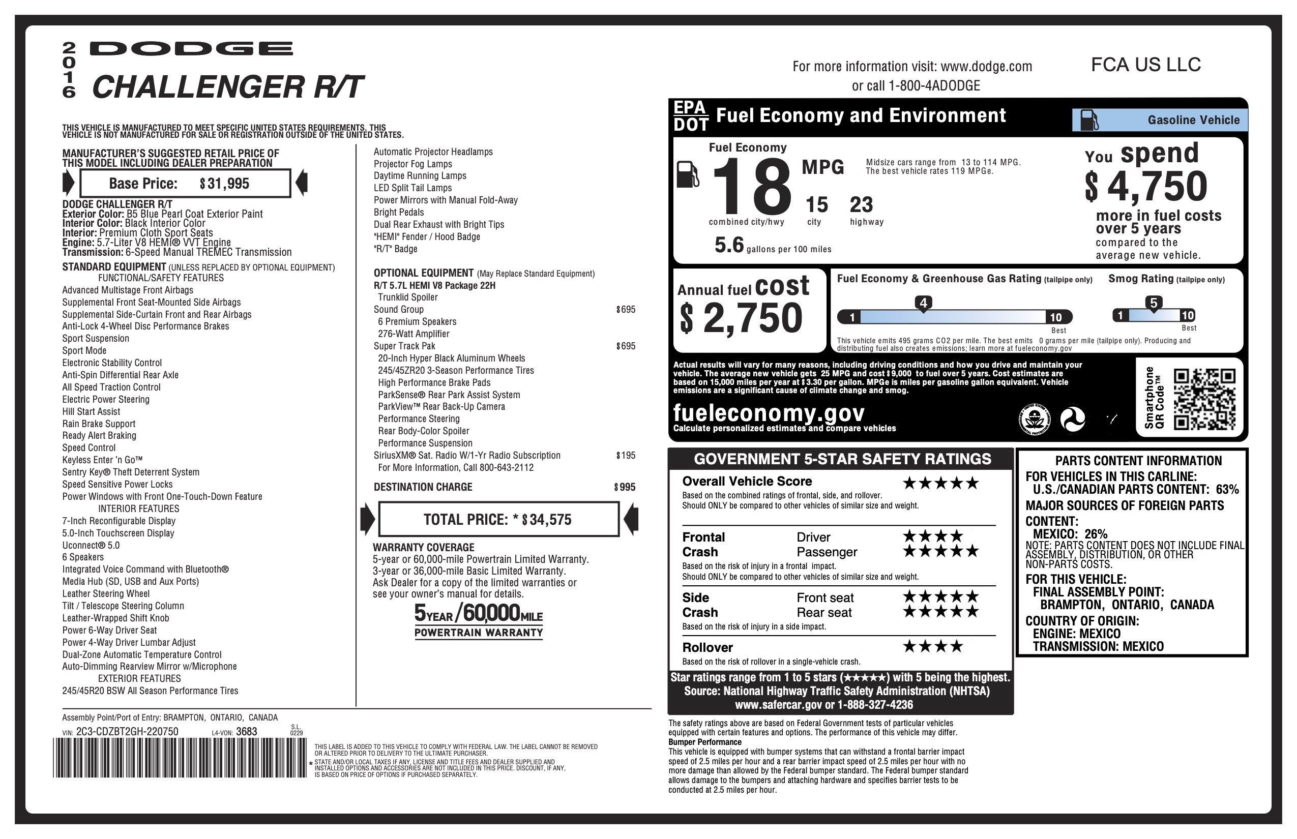 2016 Challanger RT 6 speed Super Track Pack