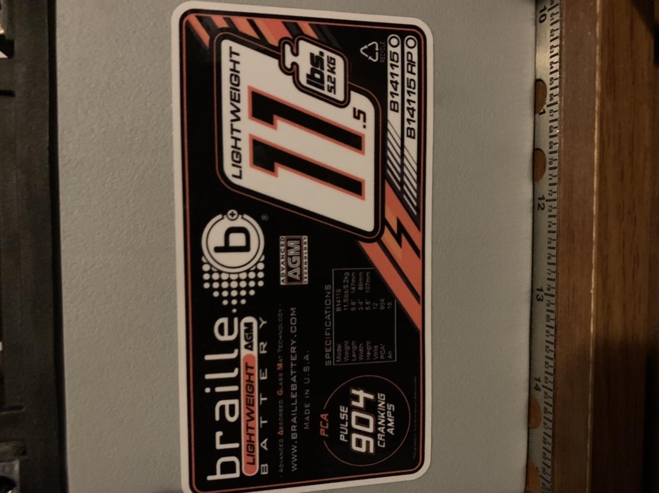 Braille B14115 Lightweight Battery